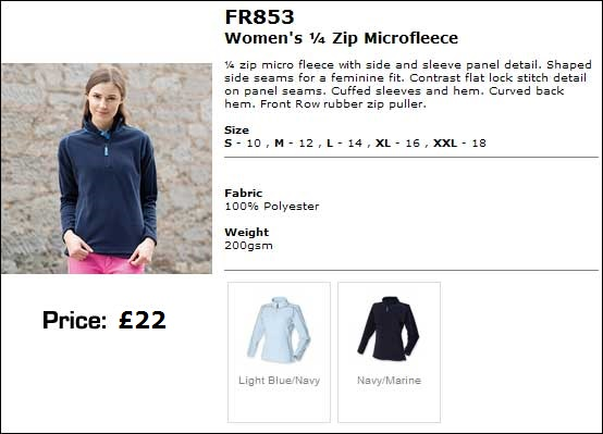 Ladies fleece sizes and colours