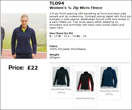 Ladies fleece colours and sizes