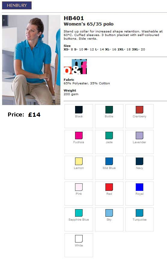 Ladies poloshirt sizes and colours