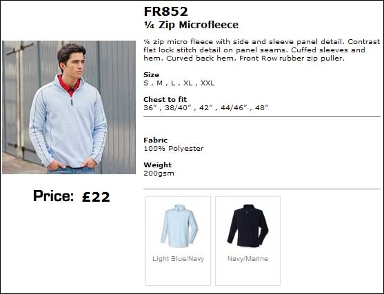 Mens fleece colours and sizes