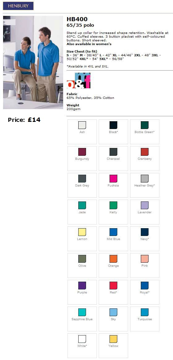Mens Poloshirt colours and sizes