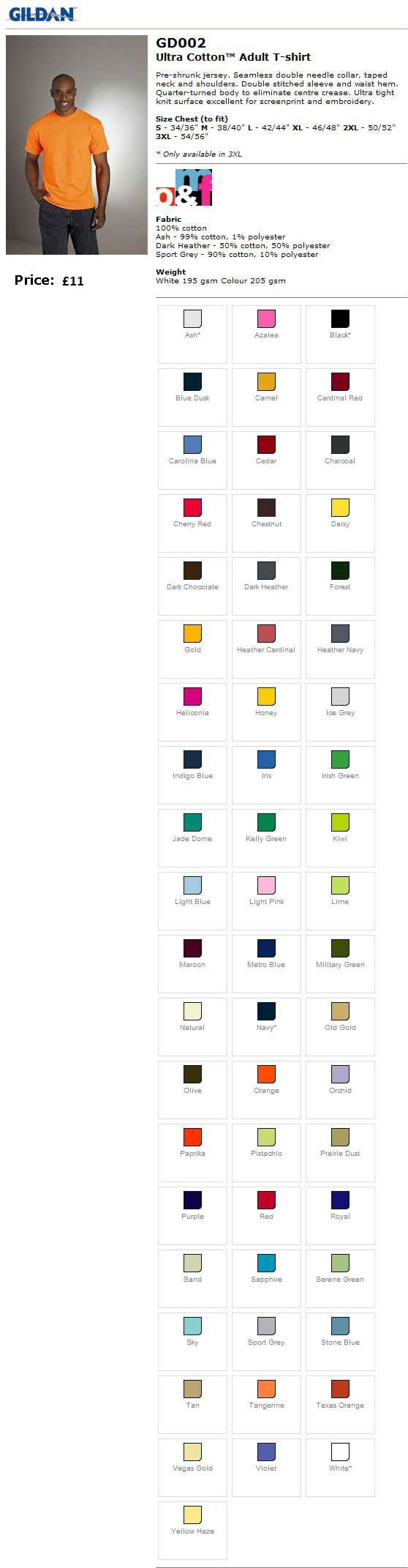 Colours and sizes of mens teeshirt